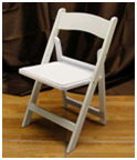 Where to find CHAIR, WHITE PADDED RESIN WEDDING in Fairview Heights