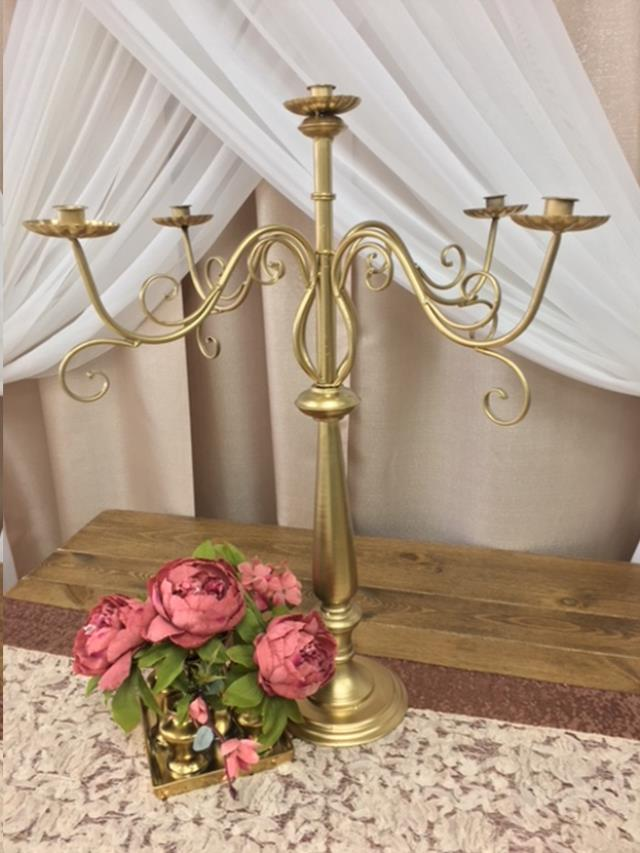 Where to find CANDELABRA, RUSTIC GOLD METAL 5-LT 29.5 in Fairview Heights